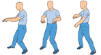 TURN-THE-BODY, AND lower the hands